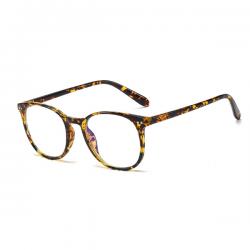 Computerbril - Anti Blauwlicht Bril - Rond Retro Model - Leopard