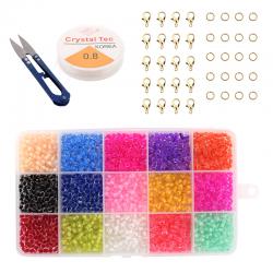 Sieraden Set - Kralen Set - 3mm - 15 kleuren - Transparant - 7500 stuks