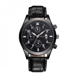 Oukeshi Heren Horloge - Kunstleer - Zwart