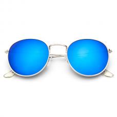 Retro Zonnebril Rond - Blauw Spiegel