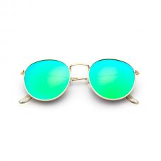 Retro Zonnebril Rond - Groen Blauw Spiegel
