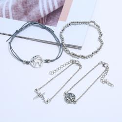 Set Armbanden - Wereldbol Hartslag Diamant Zilverkleurige Armband - 4 delig