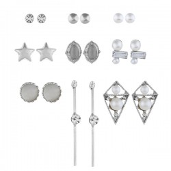 Set Oorbellen - Diamant Zilverkleurig Ivoor Ster Staafjes - 9 paar