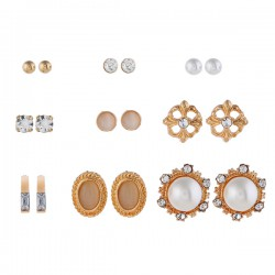 Set Oorbellen - Goudkleurig Diamant Ivoor Parels - 9 paar
