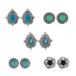 Set Oorbellen - Turquoise Zwart - 5 paar