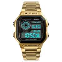 Skmei Digital Retro Watch Gold