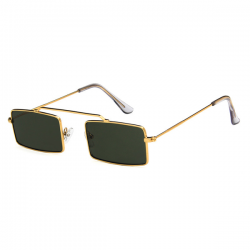 Vintage Retro Sunglasses Square Gold Green