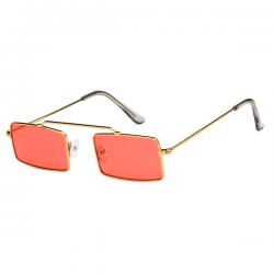 Vintage Retro Sunglasses Square Gold Red
