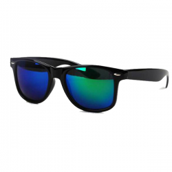 Wayfarer Black - Green Blue Mirror