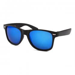 Wayfarer Mat Zwart - Blauw Spiegel