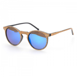 Wayfarer Round Woodlook Blue Mirror