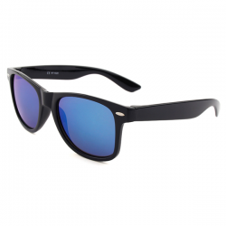 Wayfarer Black - Blue Mirror