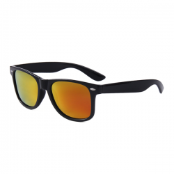 Wayfarer Sunglasses Black Gold Red Mirror - Polarised