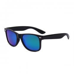 Wayfarer Sunglasses Black Green Blue Mirror - Polarised