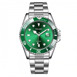 Yolako Silver Green Steel - Men Watch